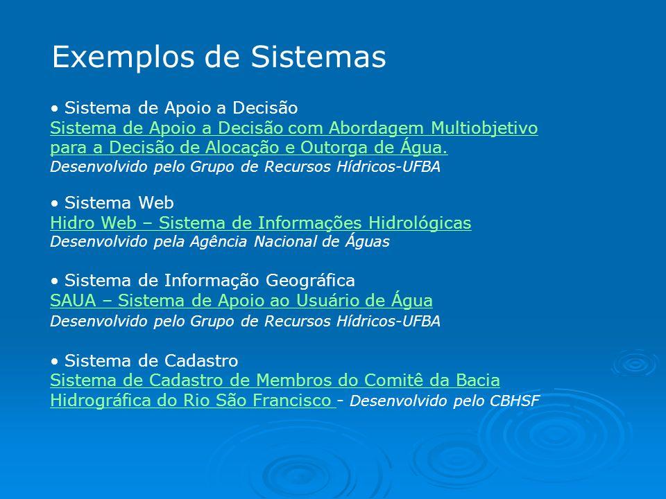 Exemplos de Sistemas Sistema de Apoio a Decisão Sistema de Apoio a Decisão com Abordagem Multiobjetivo para a Decisão de Alocação e Outorga de Água. D