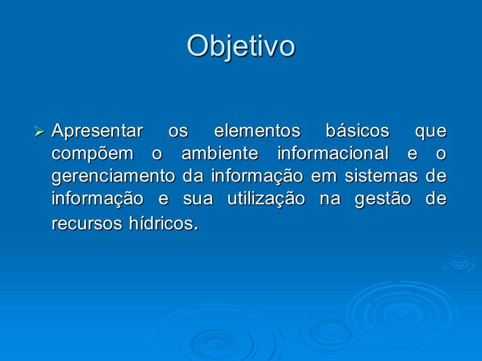 Objetivo Apresentar os elementos básicos que compõem o ambiente informacional e o gerenciamento da informação em sistemas de informação e sua utilizaç