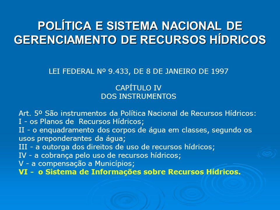 POLÍTICA E SISTEMA NACIONAL DE GERENCIAMENTO DE RECURSOS HÍDRICOS LEI FEDERAL Nº 9.433, DE 8 DE JANEIRO DE 1997 CAPÍTULO IV DOS INSTRUMENTOS Art. 5º S