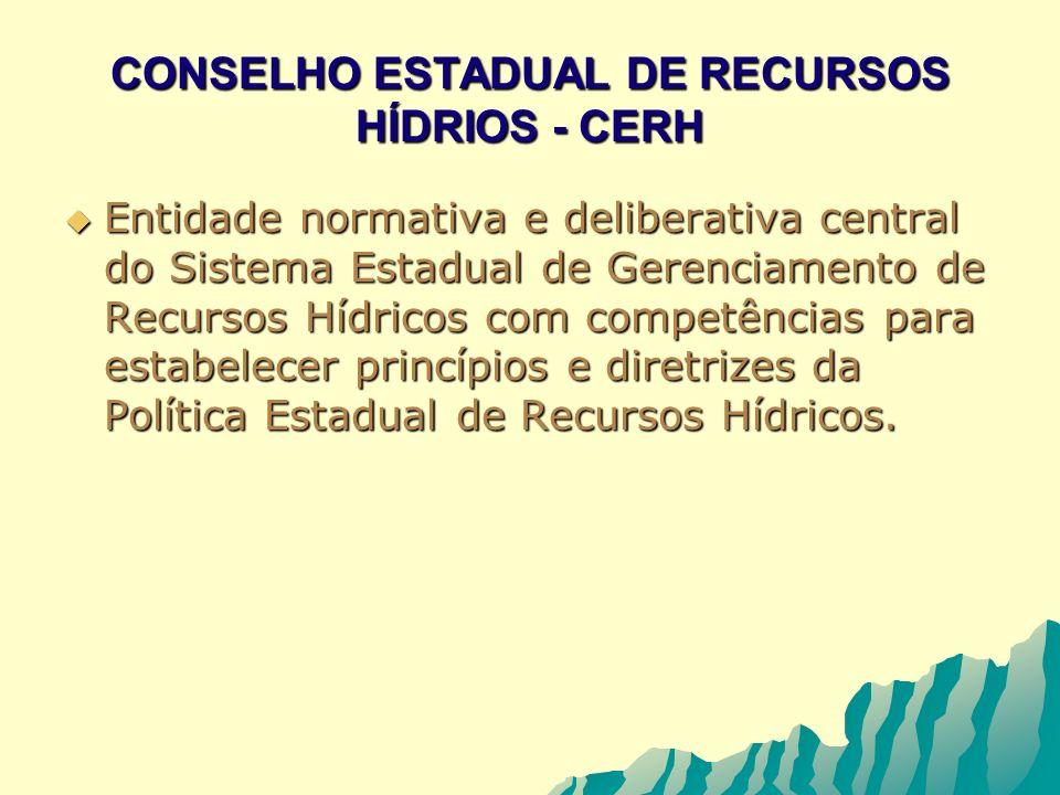 CONSELHO ESTADUAL DE RECURSOS HÍDRIOS - CERH Entidade normativa e deliberativa central do Sistema Estadual de Gerenciamento de Recursos Hídricos com c