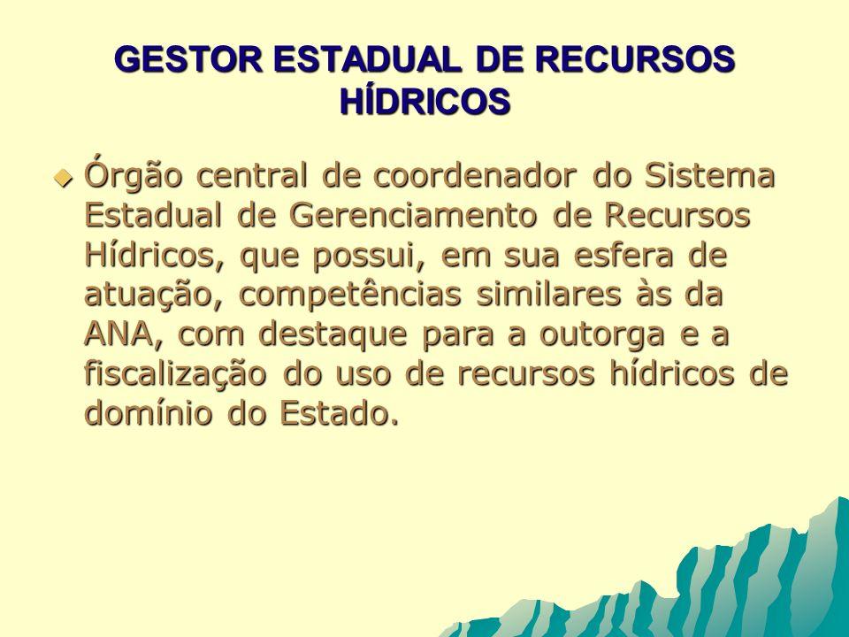 GESTOR ESTADUAL DE RECURSOS HÍDRICOS Órgão central de coordenador do Sistema Estadual de Gerenciamento de Recursos Hídricos, que possui, em sua esfera