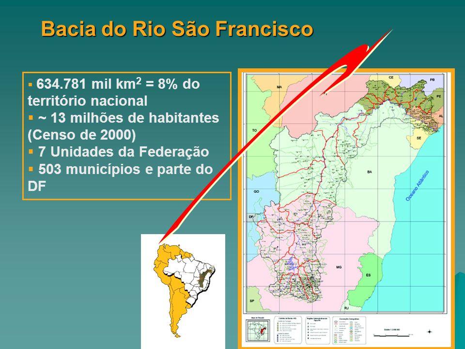 634.781 mil km 2 = 8% do território nacional ~ 13 milhões de habitantes (Censo de 2000) 7 Unidades da Federação 503 municípios e parte do DF Bacia do