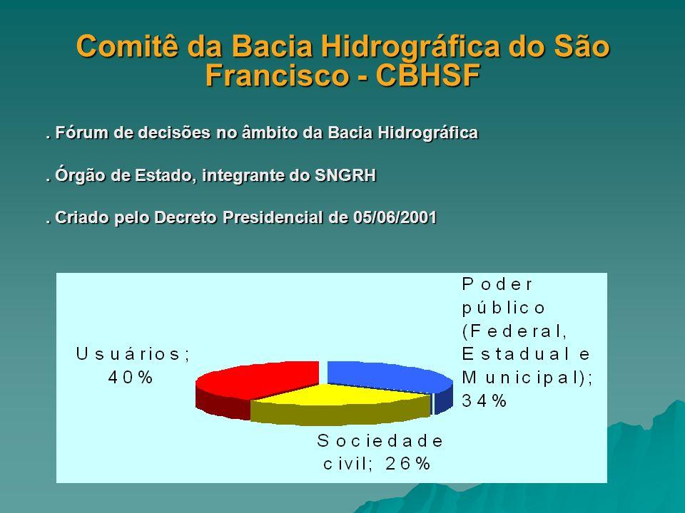 Comitê da Bacia Hidrográfica do São Francisco - CBHSF. Fórum de decisões no âmbito da Bacia Hidrográfica. Órgão de Estado, integrante do SNGRH. Criado