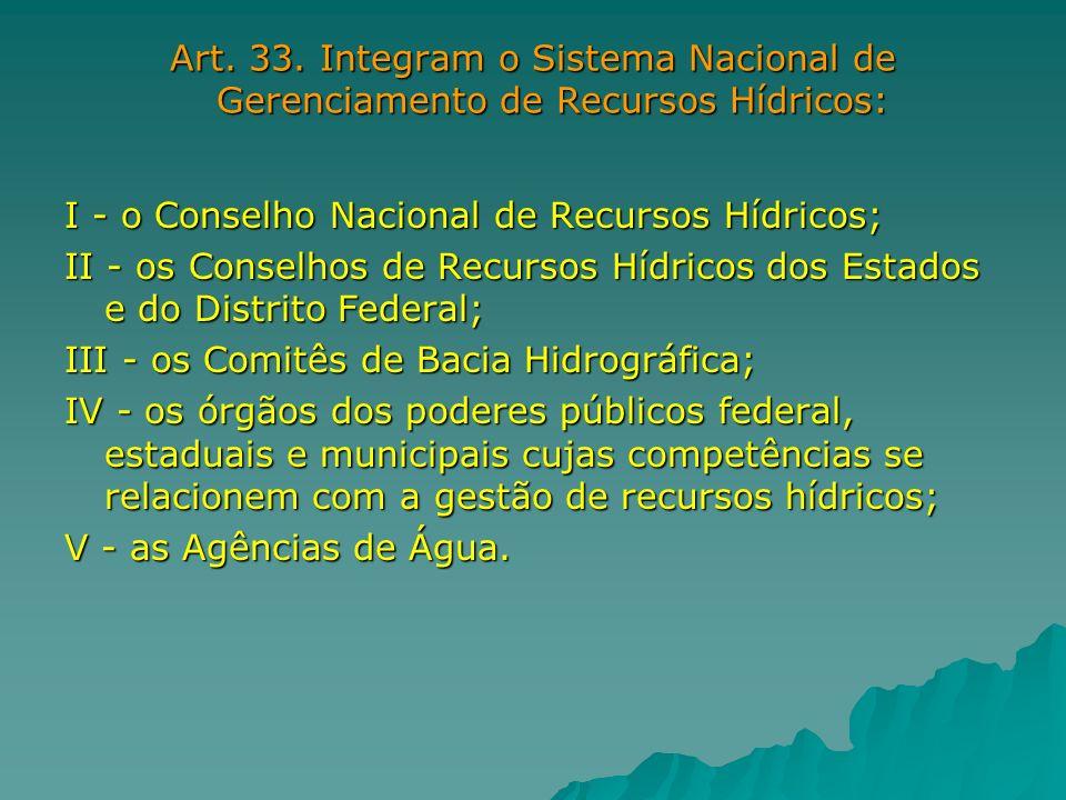 Art. 33. Integram o Sistema Nacional de Gerenciamento de Recursos Hídricos: I - o Conselho Nacional de Recursos Hídricos; II - os Conselhos de Recurso