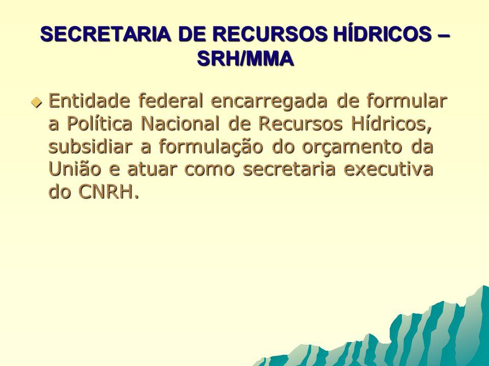 SECRETARIA DE RECURSOS HÍDRICOS – SRH/MMA Entidade federal encarregada de formular a Política Nacional de Recursos Hídricos, subsidiar a formulação do