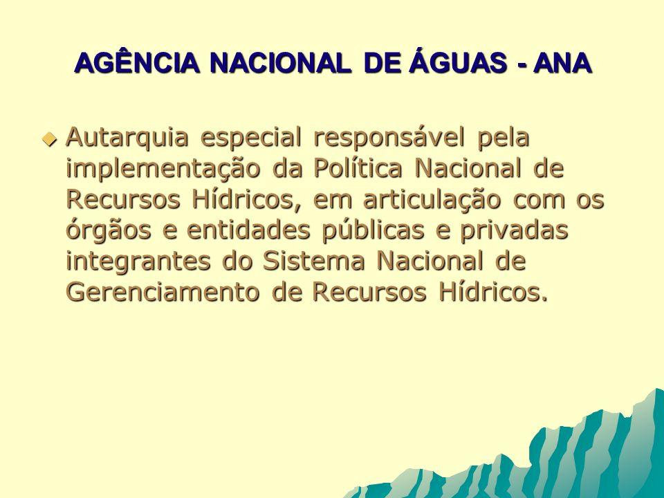AGÊNCIA NACIONAL DE ÁGUAS - ANA Autarquia especial responsável pela implementação da Política Nacional de Recursos Hídricos, em articulação com os órg