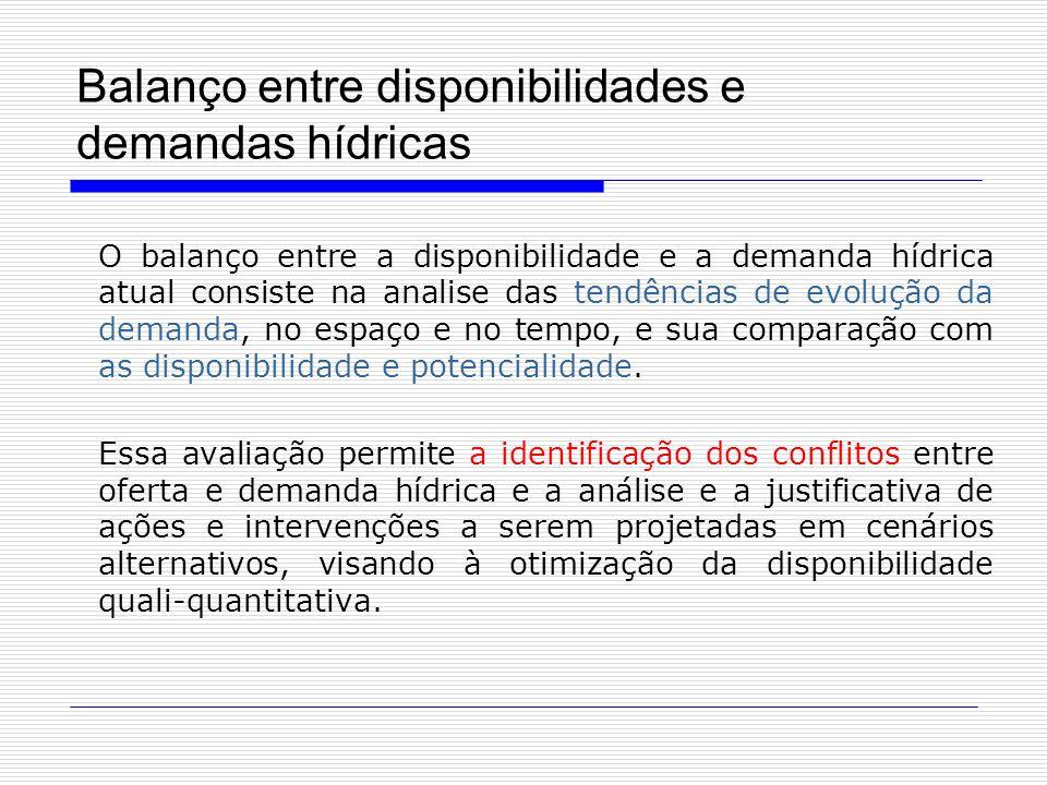 Balanço entre disponibilidades e demandas hídricas O balanço entre a disponibilidade e a demanda hídrica atual consiste na analise das tendências de e