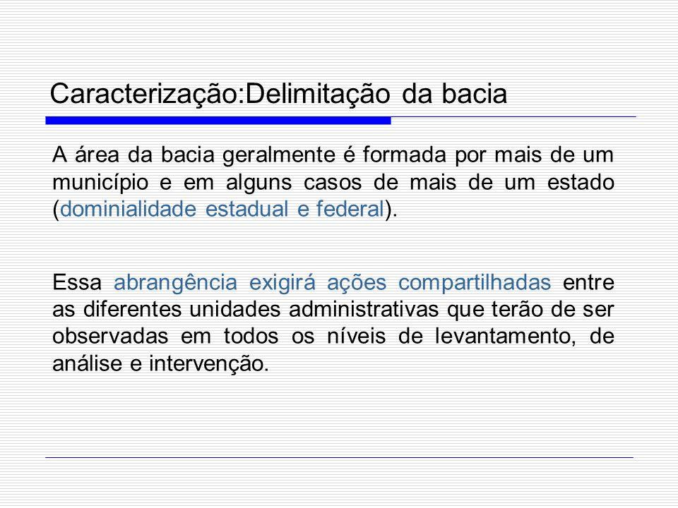 Caracterização:Delimitação da bacia A área da bacia geralmente é formada por mais de um município e em alguns casos de mais de um estado (dominialidad
