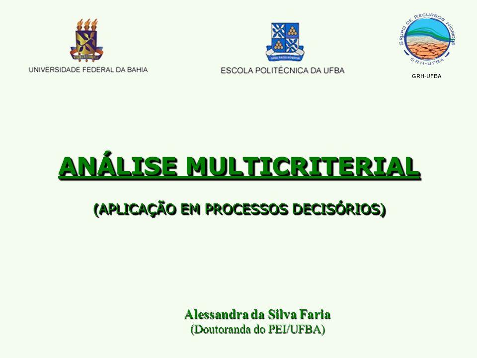 Alessandra da Silva Faria (Doutoranda do PEI/UFBA) ANÁLISE MULTICRITERIAL (APLICAÇÃO EM PROCESSOS DECISÓRIOS) GRH-UFBA