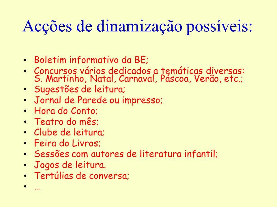 Acções de dinamização possíveis: Boletim informativo da BE; Concursos vários dedicados a temáticas diversas: S. Martinho, Natal, Carnaval, Páscoa, Ver