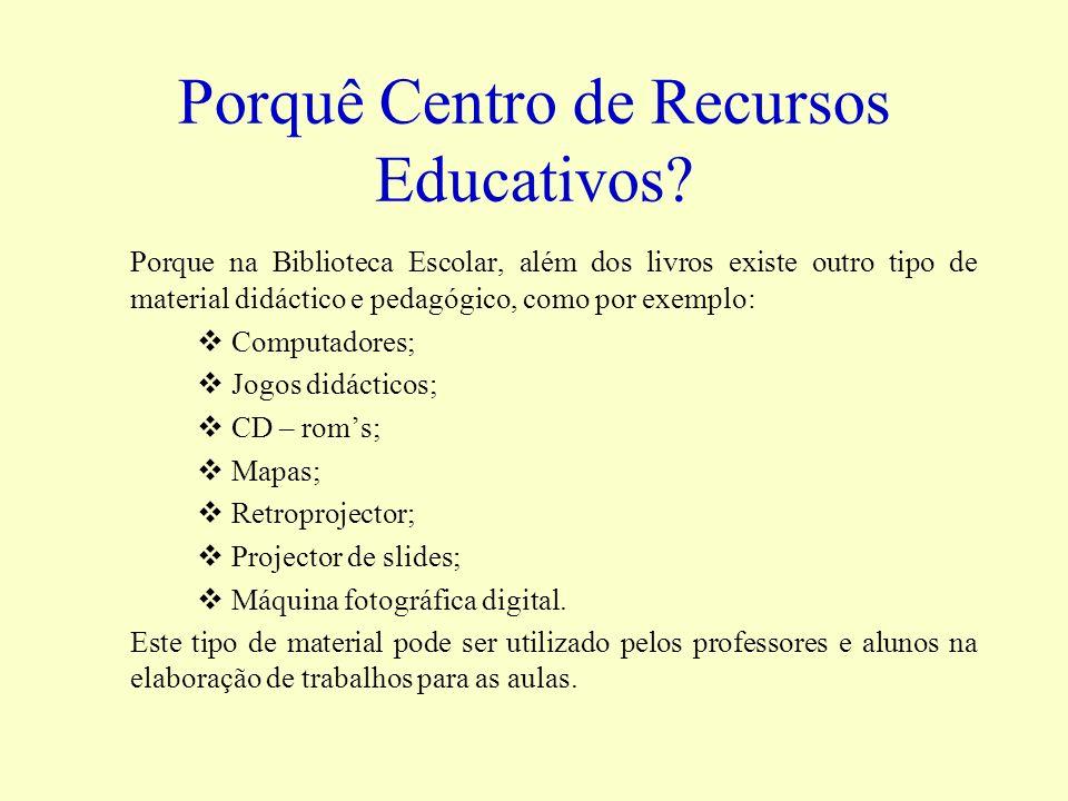 Porquê Centro de Recursos Educativos? Porque na Biblioteca Escolar, além dos livros existe outro tipo de material didáctico e pedagógico, como por exe