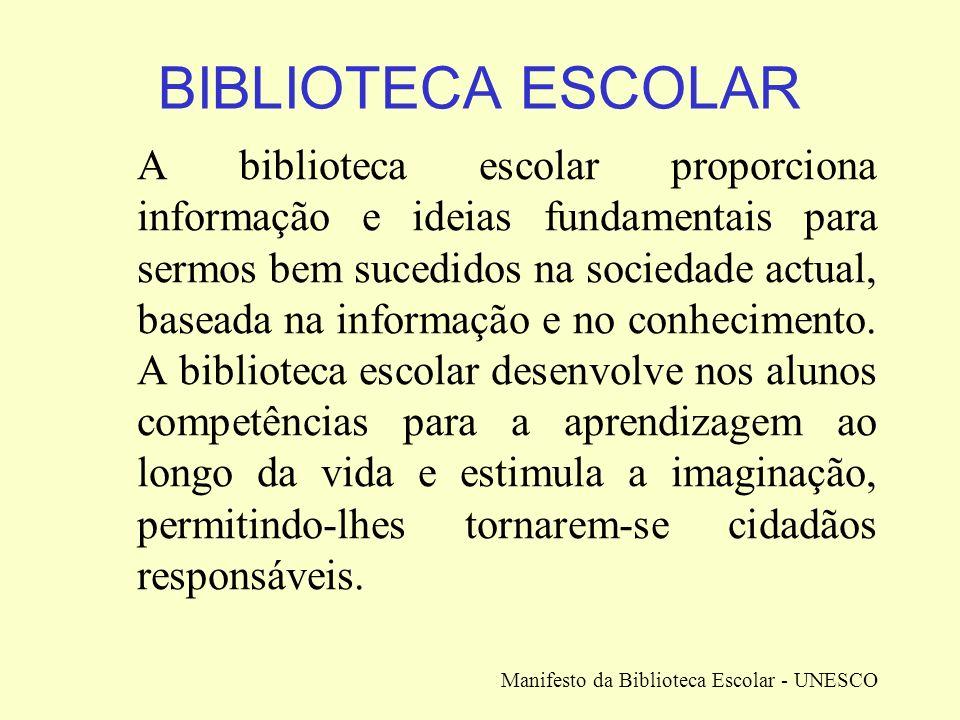 BIBLIOTECA ESCOLAR A biblioteca escolar proporciona informação e ideias fundamentais para sermos bem sucedidos na sociedade actual, baseada na informa