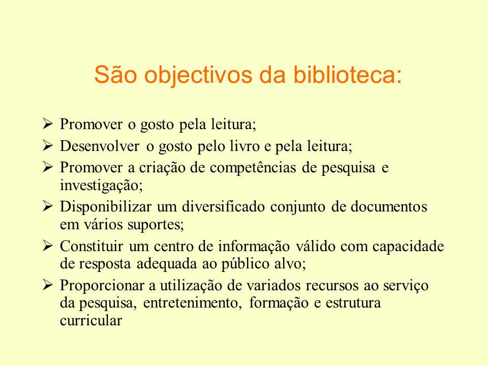 São objectivos da biblioteca: Promover o gosto pela leitura; Desenvolver o gosto pelo livro e pela leitura; Promover a criação de competências de pesq