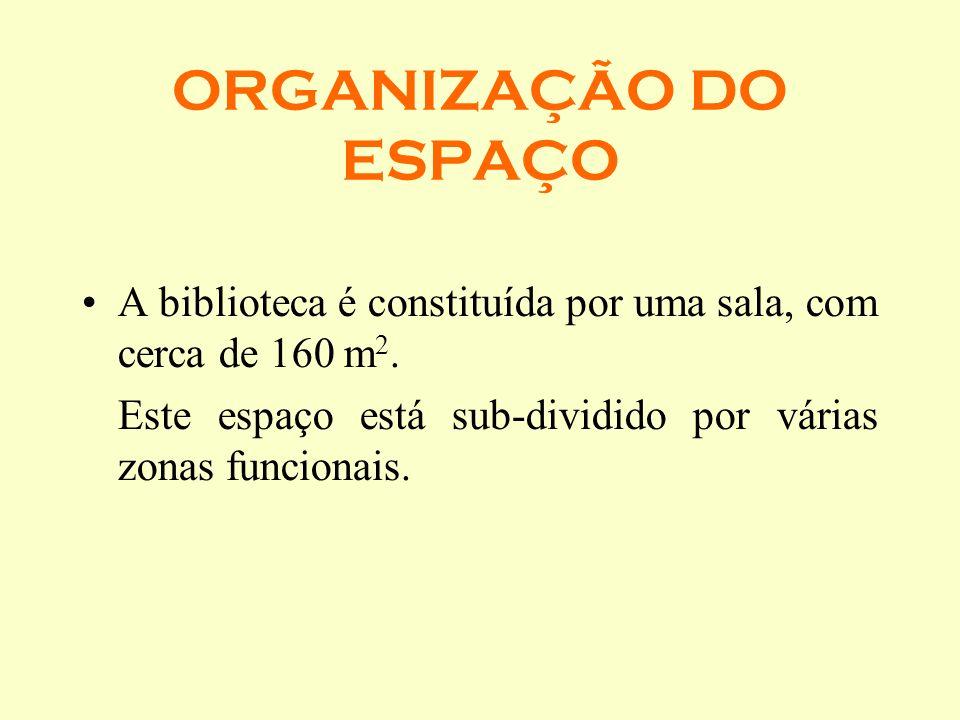 ORGANIZAÇÃO DO ESPAÇO A biblioteca é constituída por uma sala, com cerca de 160 m 2. Este espaço está sub-dividido por várias zonas funcionais.