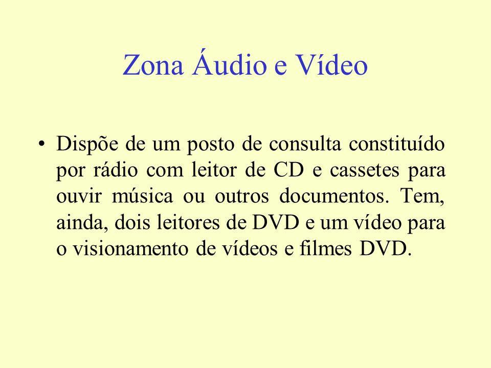 Zona Áudio e Vídeo Dispõe de um posto de consulta constituído por rádio com leitor de CD e cassetes para ouvir música ou outros documentos. Tem, ainda