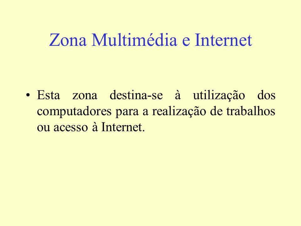 Zona Multimédia e Internet Esta zona destina-se à utilização dos computadores para a realização de trabalhos ou acesso à Internet.