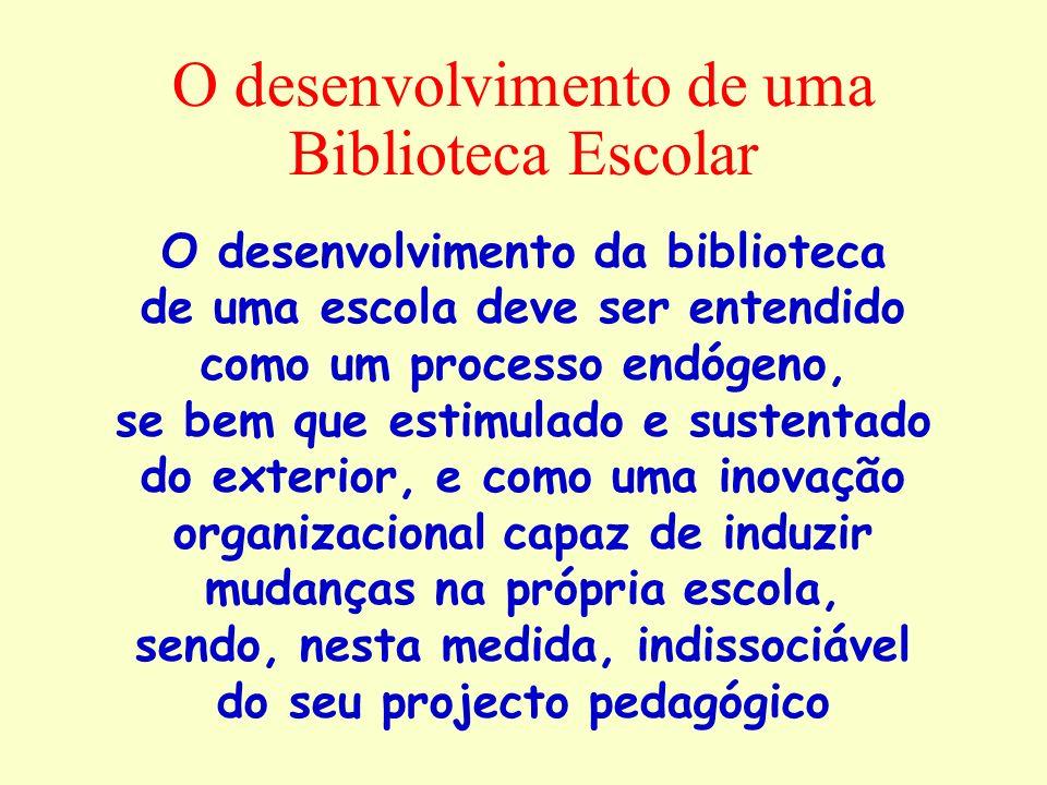 O desenvolvimento de uma Biblioteca Escolar O desenvolvimento da biblioteca de uma escola deve ser entendido como um processo endógeno, se bem que est