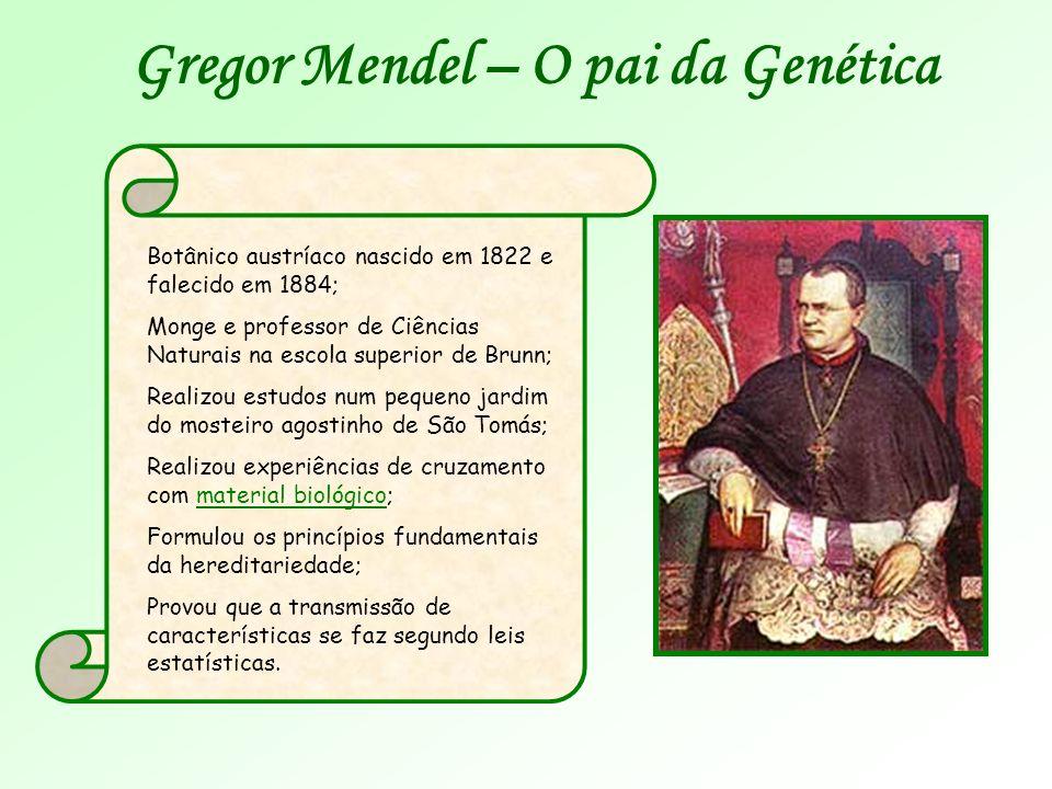 Gregor Mendel – O pai da Genética Botânico austríaco nascido em 1822 e falecido em 1884; Monge e professor de Ciências Naturais na escola superior de