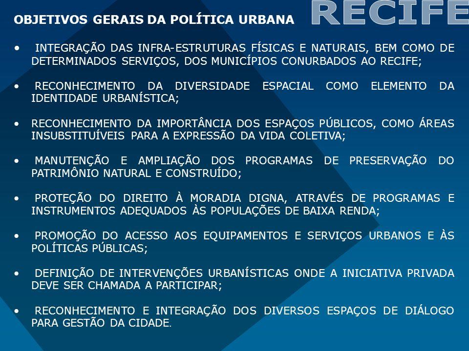 OBJETIVOS GERAIS DA POLÍTICA URBANA INTEGRAÇÃO DAS INFRA-ESTRUTURAS FÍSICAS E NATURAIS, BEM COMO DE DETERMINADOS SERVIÇOS, DOS MUNICÍPIOS CONURBADOS A