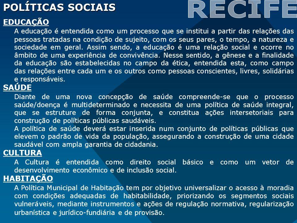 POLÍTICAS SOCIAIS EDUCAÇÃO A educação é entendida como um processo que se institui a partir das relações das pessoas tratadas na condição de sujeito,