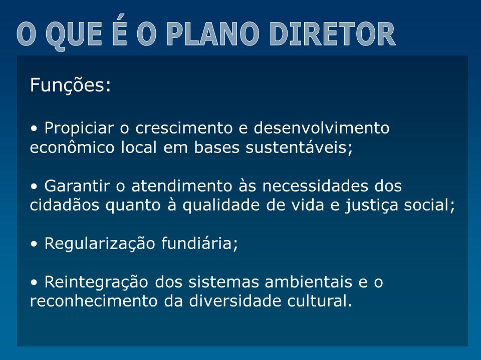 CONTEÚDO DO PLANO DIRETOR PRINCÍPIOS FUNDAMENTAIS DA POLÍTICA URBANA: Função Social da Cidade Função Social da Propriedade Urbana Sustentabilidade Gestão Democrática