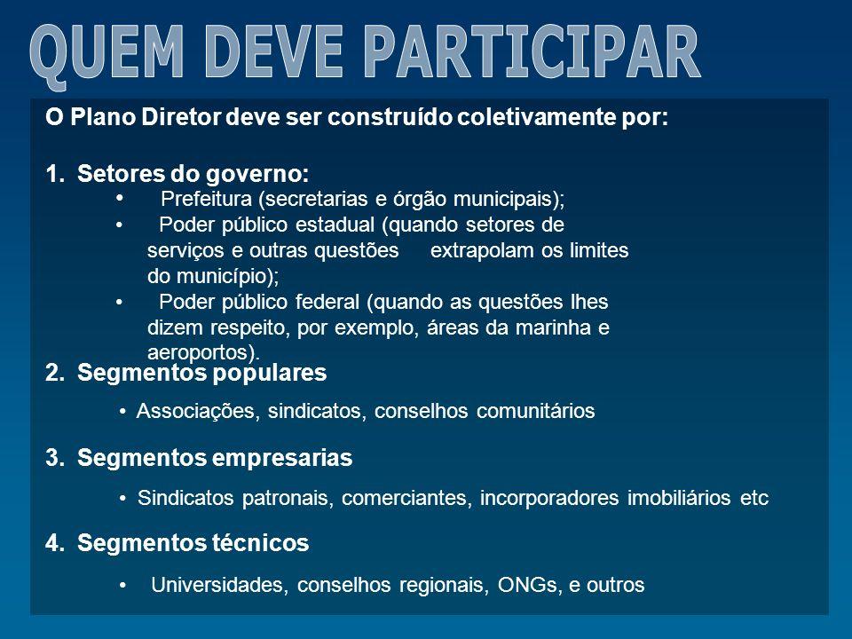 O Plano Diretor deve ser construído coletivamente por: 1.Setores do governo: 2.Segmentos populares 3.Segmentos empresarias 4.Segmentos técnicos Prefei