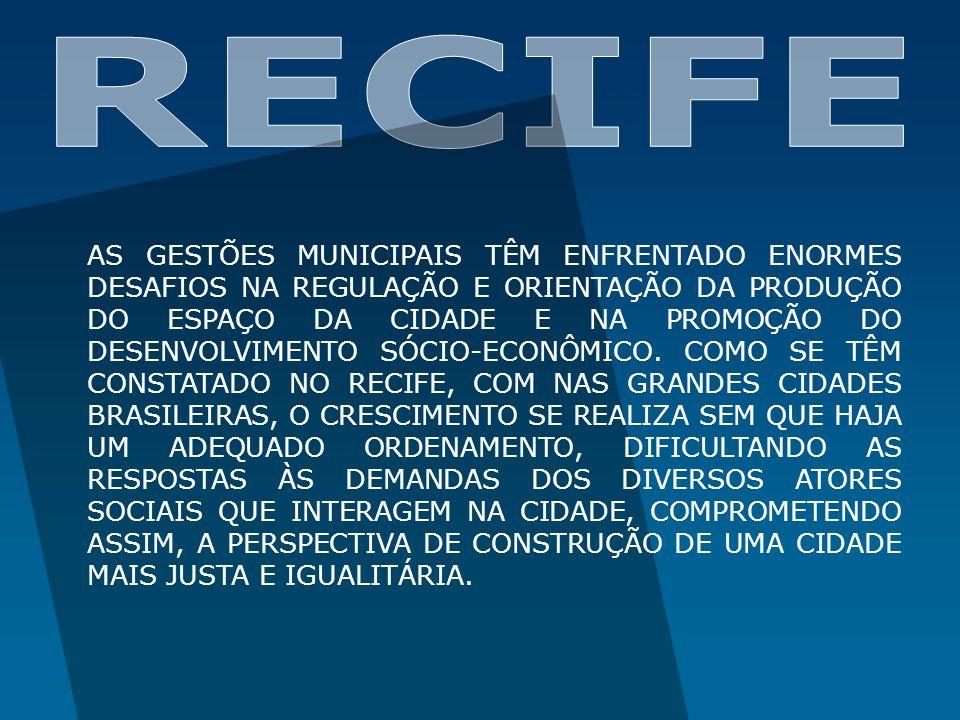 PROBLEMAS DO RECIFE: DESCONTINUIDADE DAS REDES DE INFRA-ESTRUTURA; GRANDE DEMANDA METROPOLITANA PELAS INFRA-ESTRUTURAS MUNICIPAIS; DEGRADAÇÃO DO MEIO AMBIENTE CAUSADA PELA DEFICIÊNCIA DOS SERVIÇOS DE SANEAMENTO AMBIENTAL; DEGRADAÇÃO DA PAISAGEM E DO AMBIENTE CONSTRUÍDO; DESVALORIZAÇÃO DOS ESPAÇOS PÚBLICOS; DEGRADAÇÃO DE EDIFICAÇÕES E SÍTIOS DE VALOR HISTÓRICO; DEGRADAÇÃO DE ASSENTAMENTOS HABITACIONAIS; DESEQUILÍBRIO NO ACESSO AOS EQUIPAMENTOS E SERVIÇOS URBANOS; OCUPAÇÃO INTENSIVA DE ÁREAS DE RISCO; PROCESSO HISTÓRICO DE DESARTICULAÇÃO ENTRE OS DIVERSOS CANAIS DE PARTICIPAÇÃO E INSTRUMENTOS DE PLANEJAMENTO.