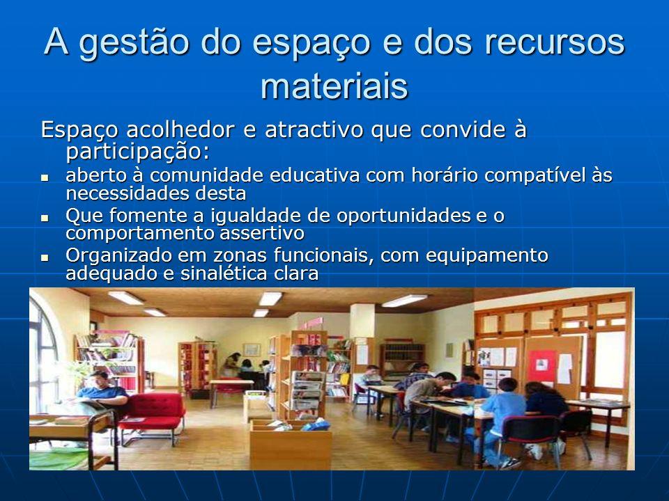 A gestão do espaço e dos recursos materiais Espaço acolhedor e atractivo que convide à participação: aberto à comunidade educativa com horário compatí