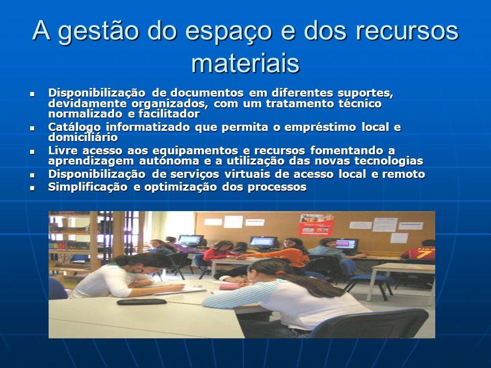 A gestão do espaço e dos recursos materiais Disponibilização de documentos em diferentes suportes, devidamente organizados, com um tratamento técnico