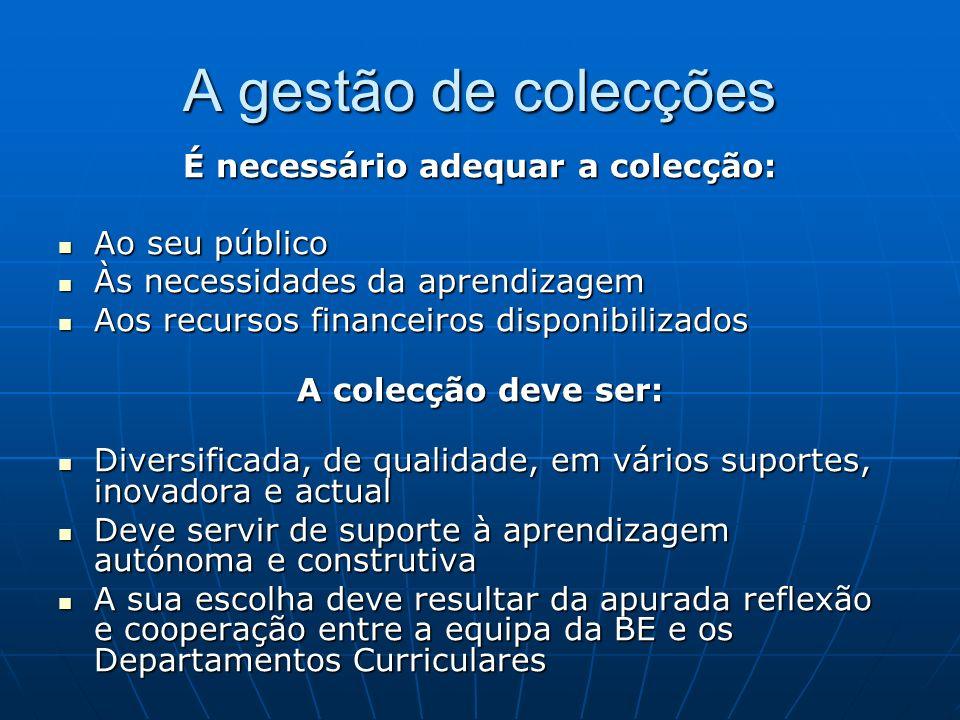 A gestão de colecções É necessário adequar a colecção: Ao seu público Ao seu público Às necessidades da aprendizagem Às necessidades da aprendizagem A