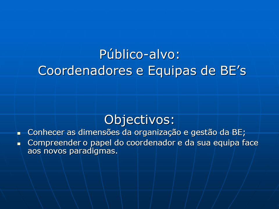 Público-alvo: Coordenadores e Equipas de BEs Coordenadores e Equipas de BEsObjectivos: Conhecer as dimensões da organização e gestão da BE; Conhecer as dimensões da organização e gestão da BE; Compreender o papel do coordenador e da sua equipa face aos novos paradigmas.