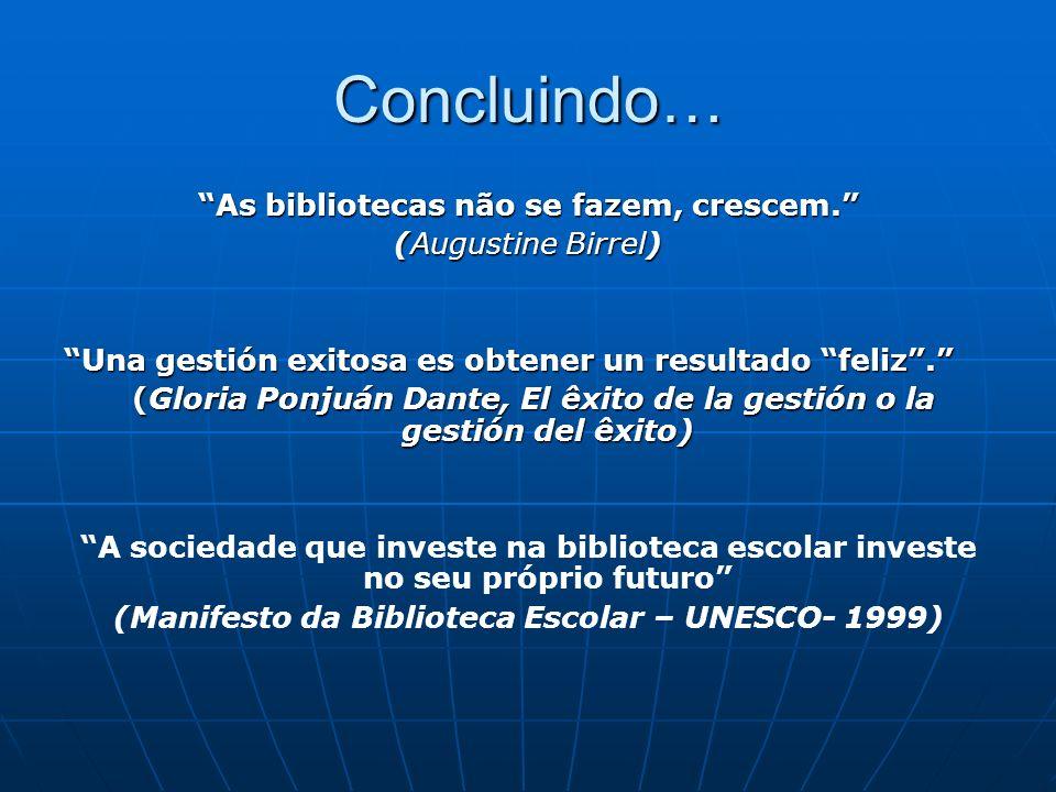 Concluindo… As bibliotecas não se fazem, crescem. (Augustine Birrel) Una gestión exitosa es obtener un resultado feliz. (Gloria Ponjuán Dante, El êxit