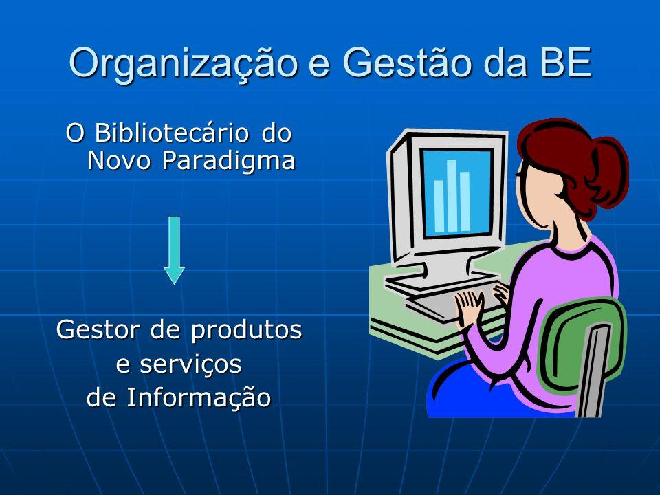 Organização e Gestão da BE O Bibliotecário do Novo Paradigma Gestor de produtos e serviços de Informação