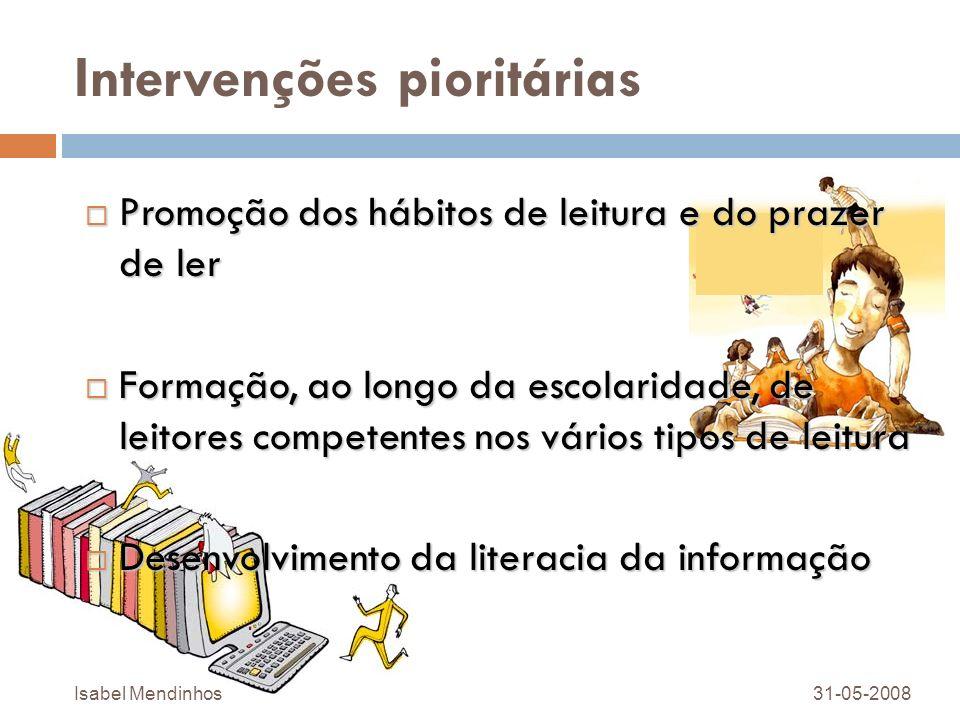 Intervenções pioritárias Promoção dos hábitos de leitura e do prazer de ler Promoção dos hábitos de leitura e do prazer de ler Formação, ao longo da e