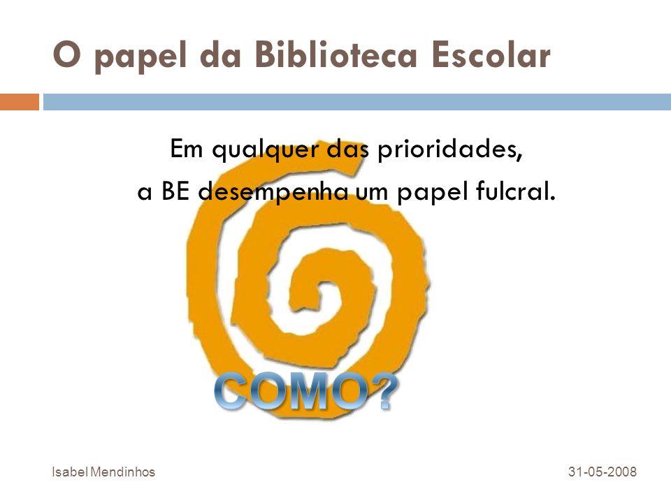 O papel da Biblioteca Escolar Em qualquer das prioridades, a BE desempenha um papel fulcral. 31-05-2008Isabel Mendinhos