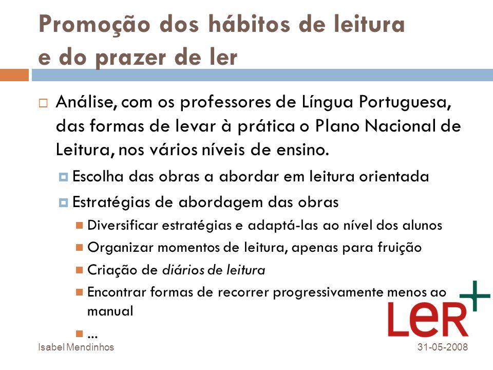 Promoção dos hábitos de leitura e do prazer de ler Análise, com os professores de Língua Portuguesa, das formas de levar à prática o Plano Nacional de