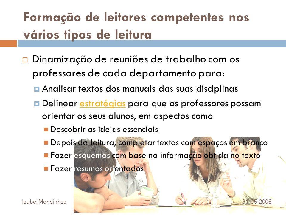 Formação de leitores competentes nos vários tipos de leitura Dinamização de reuniões de trabalho com os professores de cada departamento para: Analisa