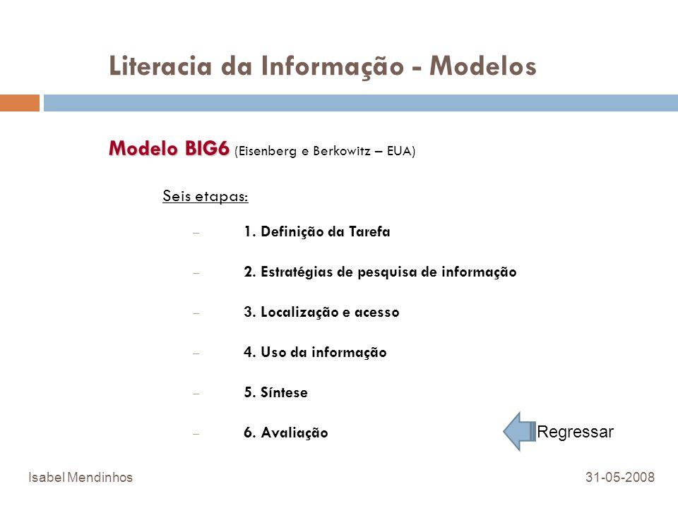 Literacia da Informação - Modelos Modelo BIG6 Modelo BIG6 (Eisenberg e Berkowitz – EUA) Seis etapas: – 1. Definição da Tarefa – 2. Estratégias de pesq