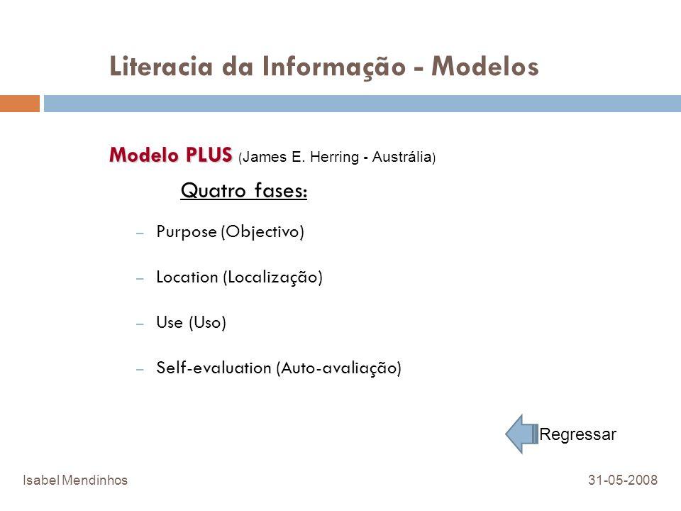 Literacia da Informação - Modelos Modelo PLUS Modelo PLUS ( James E. Herring - Austrália ) Quatro fases: – Purpose (Objectivo) – Location (Localização