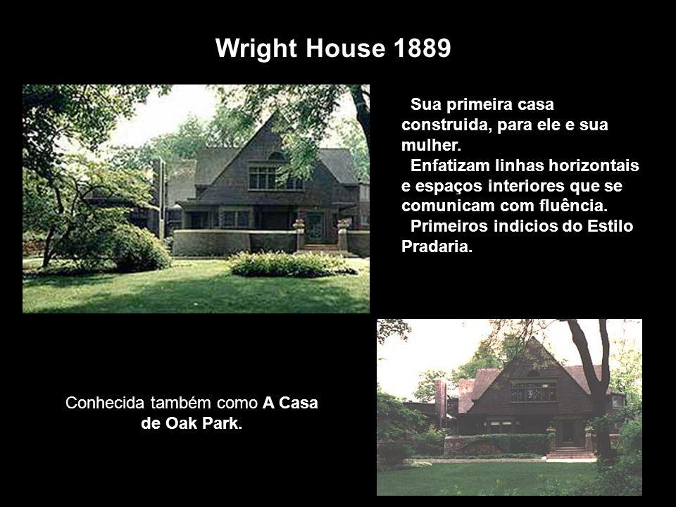 Sua primeira casa construida, para ele e sua mulher. Enfatizam linhas horizontais e espaços interiores que se comunicam com fluência. Primeiros indici