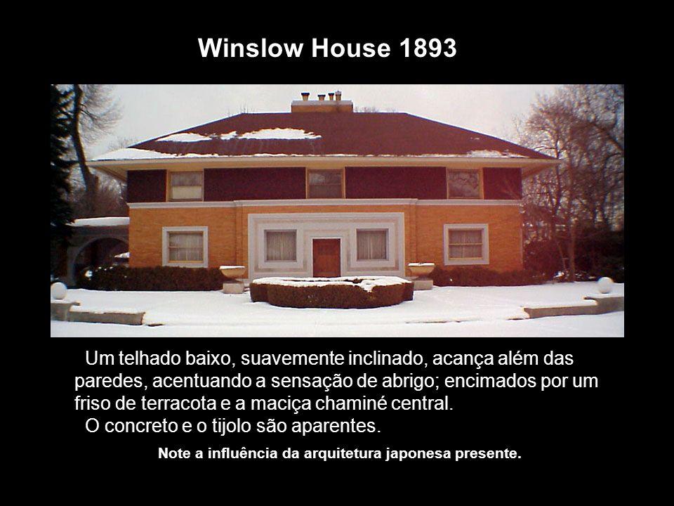 Winslow House 1893 Um telhado baixo, suavemente inclinado, acança além das paredes, acentuando a sensação de abrigo; encimados por um friso de terraco