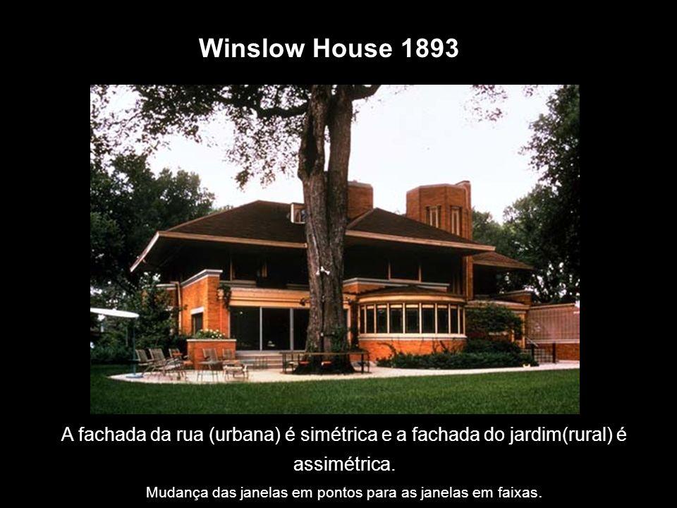 Winslow House 1893 A fachada da rua (urbana) é simétrica e a fachada do jardim(rural) é assimétrica. Mudança das janelas em pontos para as janelas em