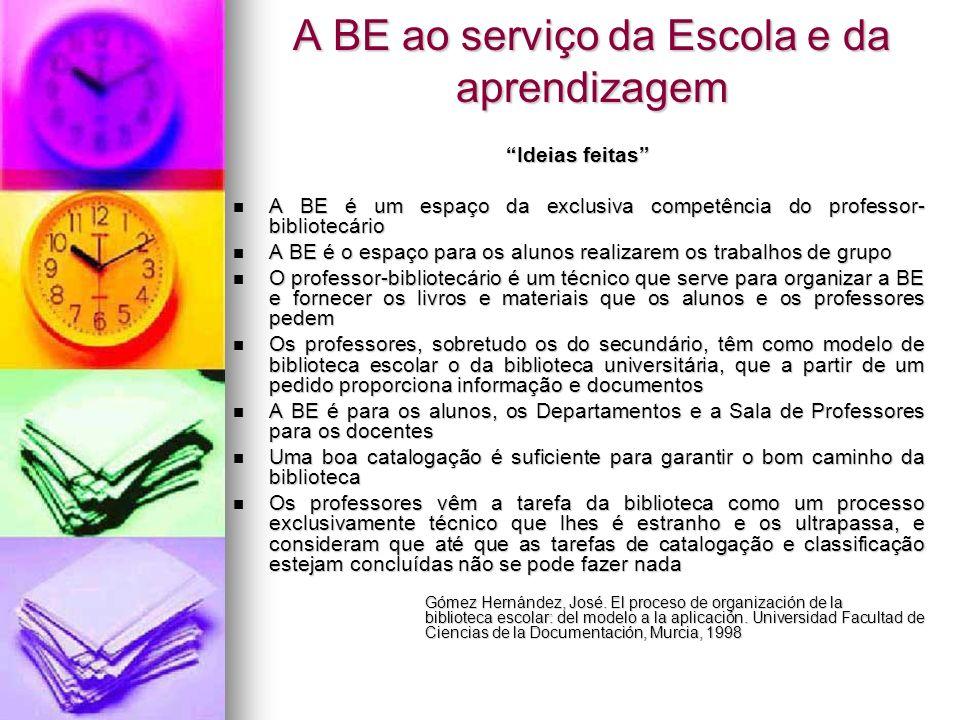 A BE ao serviço da Escola e da aprendizagem Ideias feitas A BE é um espaço da exclusiva competência do professor- bibliotecário A BE é um espaço da ex