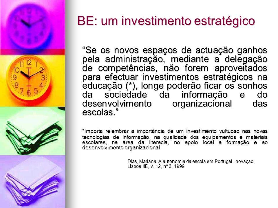 BE: um investimento estratégico Se os novos espaços de actuação ganhos pela administração, mediante a delegação de competências, não forem aproveitado