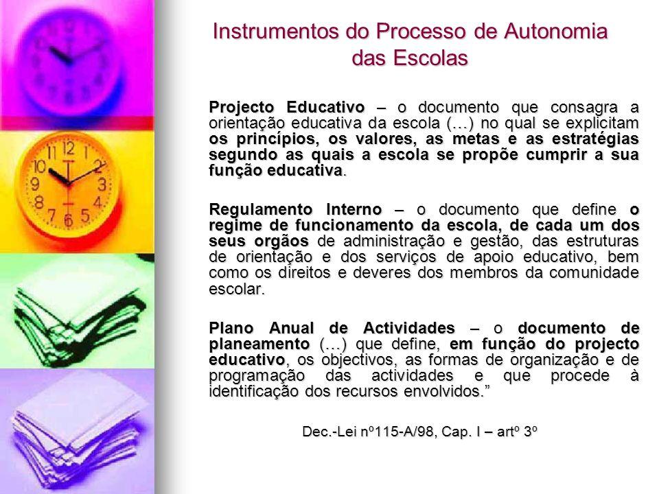Instrumentos do Processo de Autonomia das Escolas Projecto Educativo – o documento que consagra a orientação educativa da escola (…) no qual se explic