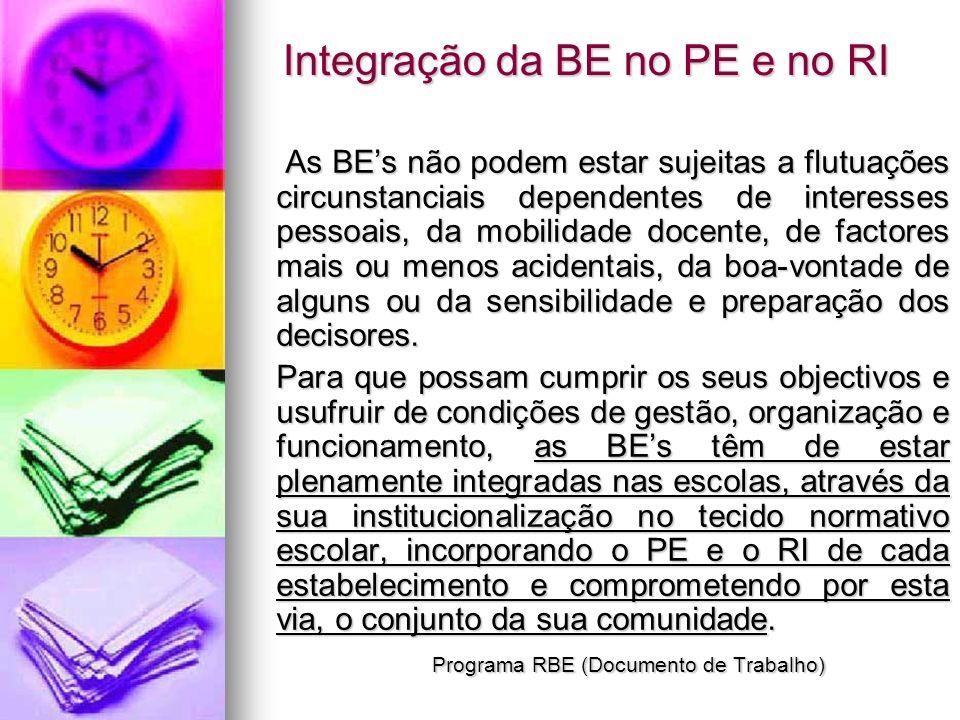 Integração da BE no PE e no RI As BEs não podem estar sujeitas a flutuações circunstanciais dependentes de interesses pessoais, da mobilidade docente,