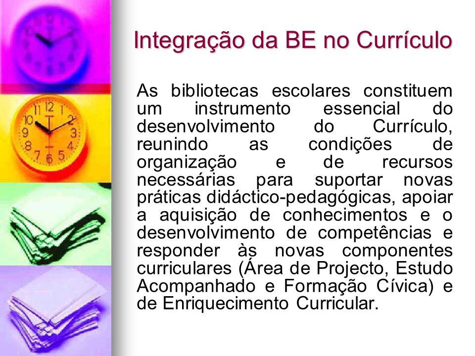 Integração da BE no Currículo As bibliotecas escolares constituem um instrumento essencial do desenvolvimento do Currículo, reunindo as condições de o