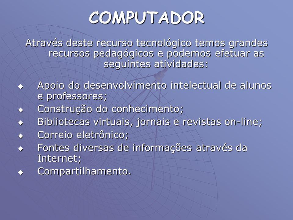 COMPUTADOR Através deste recurso tecnológico temos grandes recursos pedagógicos e podemos efetuar as seguintes atividades: Apoio do desenvolvimento in