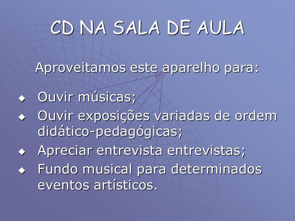 CD NA SALA DE AULA Aproveitamos este aparelho para: Ouvir músicas; Ouvir músicas; Ouvir exposições variadas de ordem didático-pedagógicas; Ouvir expos
