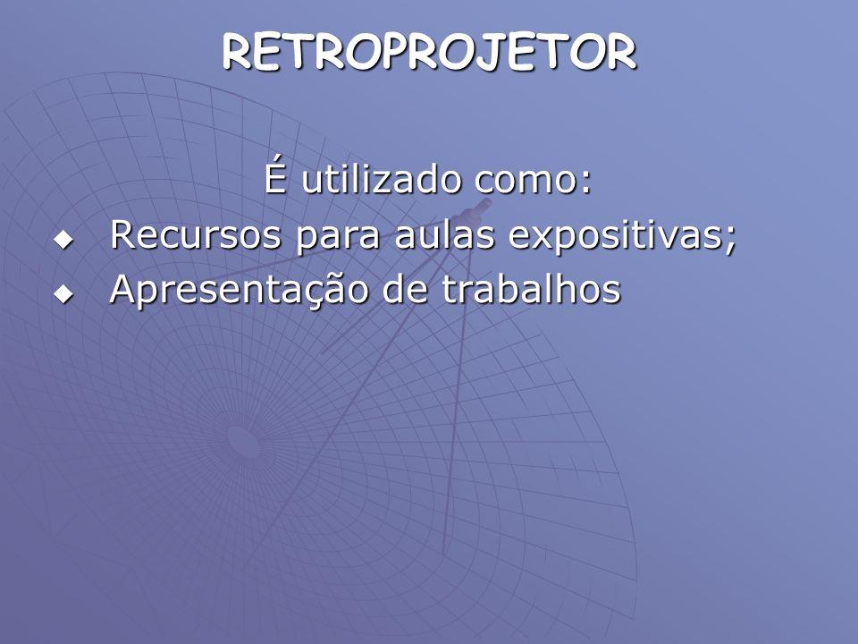 RETROPROJETOR É utilizado como: Recursos para aulas expositivas; Recursos para aulas expositivas; Apresentação de trabalhos Apresentação de trabalhos